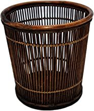 Waste & Recycling Rattan Retro Trash Can Restaurant Bamboo Garbage Container Bin Retro Waste Paper Bin Decoration Indoor D...