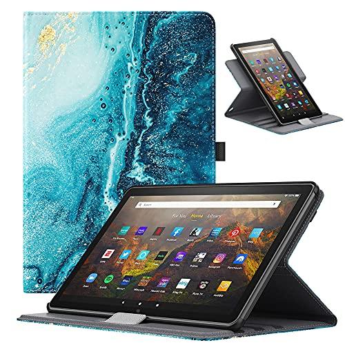 TiMOVO Funda para Todo Nuevo Fire HD 10 & Fire HD 10 Plus Tablet (10.1', 11.ª Generación, 2021), Cubierta Protectora Soporte Giratorio de 90 Grados, Auto Sueño/Estela, Dorado