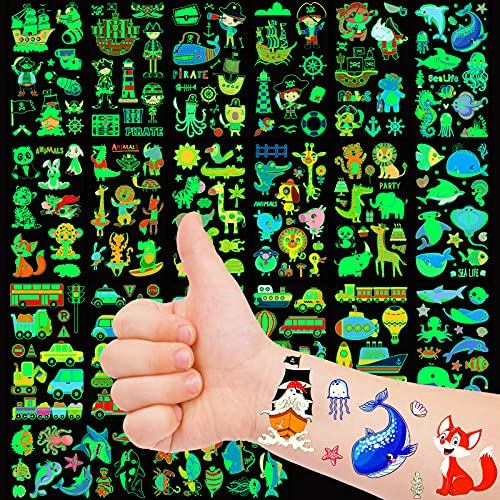 Qpout Tatuajes Temporales Para Niños 230 Piezas De Tatuajes Luminosos Falsos Vehículo Vida Marina Pirata Bosque Animales Patrones Pegatinas De Fiesta 20 Hojas Que Brillan En La Oscuridad