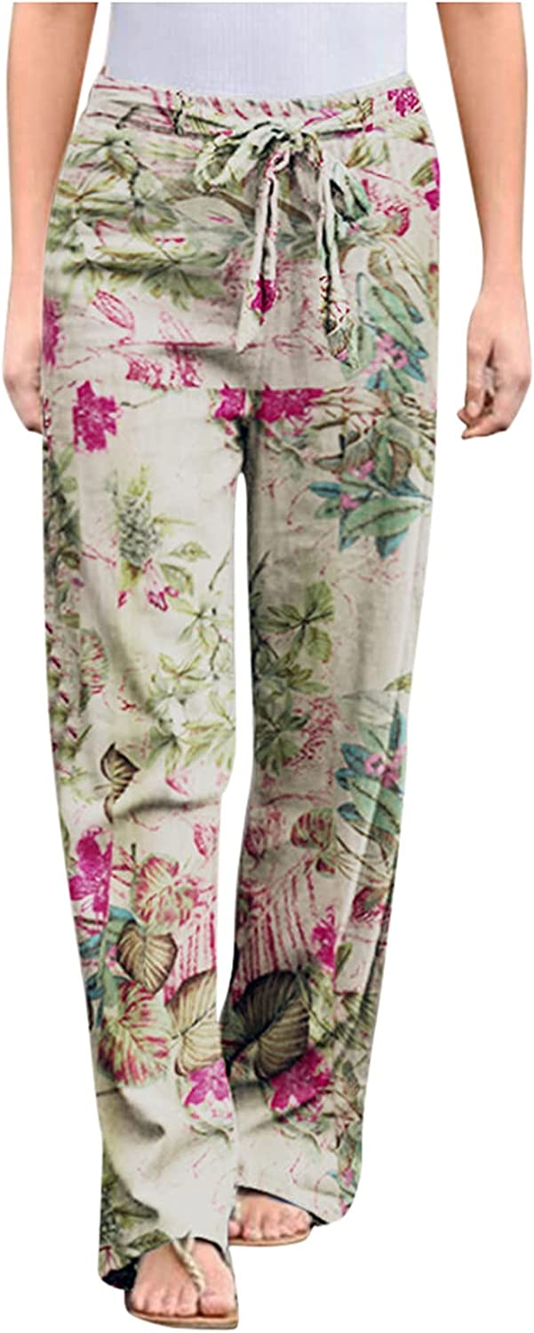 Smileyth Women Summer Loose Wide Leg Pants Vintage Floral Print Elastic Waist Lace Up Trousers Casual Pants