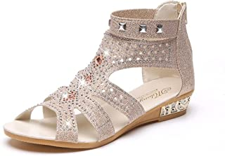 DIGOOD Sandals for Women,Ladies Teen Girls Bling Platform Toe Summer Wedge Casual Roma Shoes