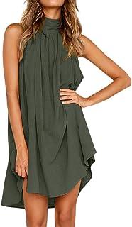 115d4a21b99 iLUGU Romantic Mini Dress for Women Sleeveless Round Collar Irregular Fold  Holiday Summer Beach Party