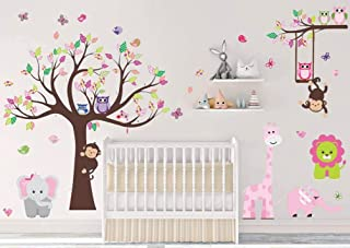 Animal Tree Wall Stickers Pink Elephant Giraffe Wall Decals Art Decor for Kids Bedroom Nursery DIY
