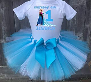 Frozen Elsa And Anna Personalized Birthday Outfit Tutu Set