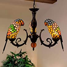 3 Head Chandelier European Creative Retro Tiffany Stained Glass Parrot Chandelier Bar Restaurant Living Room Bird Light Gl...