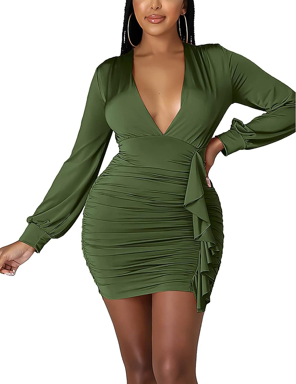 Womens Sexy Elegant V Neck Long Sleeve Lantern Puff Sleeve Ruched Ruffle Bandage Bodycon Club Party Night Short Mini Dresses