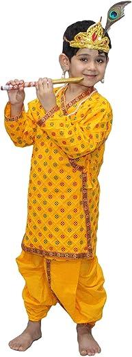 Kaku Fancy Dresses Krishna Costume for Kids | Kids Krishna Dress for Janmashtami/Kanha/Krishnaleela/Mythological Character Krishna Fancy Dress... 1