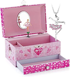 RR ROUND RICH DESIGN Kids Musical Jewelry Box for Girls with Drawer and Jewelry Set with Pretty Girl Theme - Beautiful Dream Tune Pink