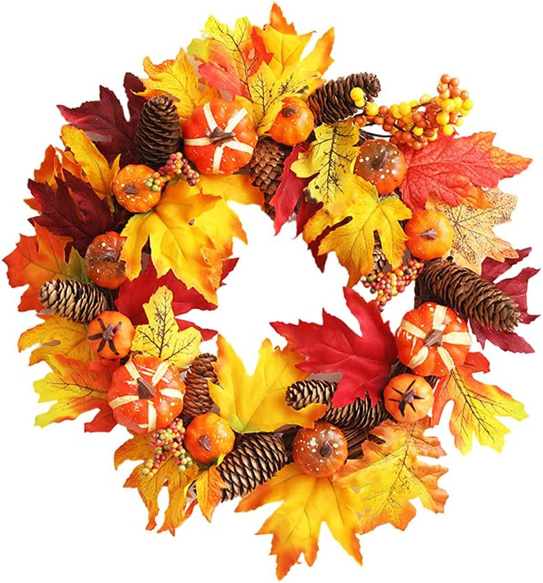 FZJINLS 17 Miami Mall Inch Boston Mall Fall Wreath for Halloween Door Front