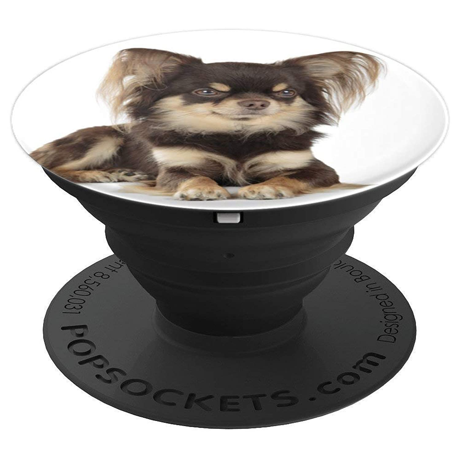 Long Haired Chihuahua Dog Cute Pop Chihuahua Mom Dad Gifts - PopSockets Grip and Stand for Phones and Tablets