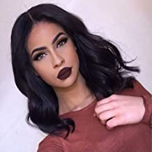 150% Pre Plucked Lace Frontal Wigs With Brazilian Virgin Human Hair Wavy Bob Style Wigs For Black Women (16