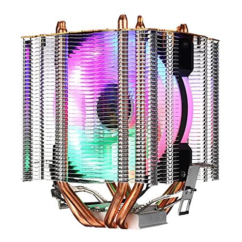 XiaoMall RGB CPU Cooler Fan 4 cobre heatpipesipes 9 cm Aurora luz ventilador de refrigeración para Compurter Intel LGA 2011 CPU Cooler disipador radiador