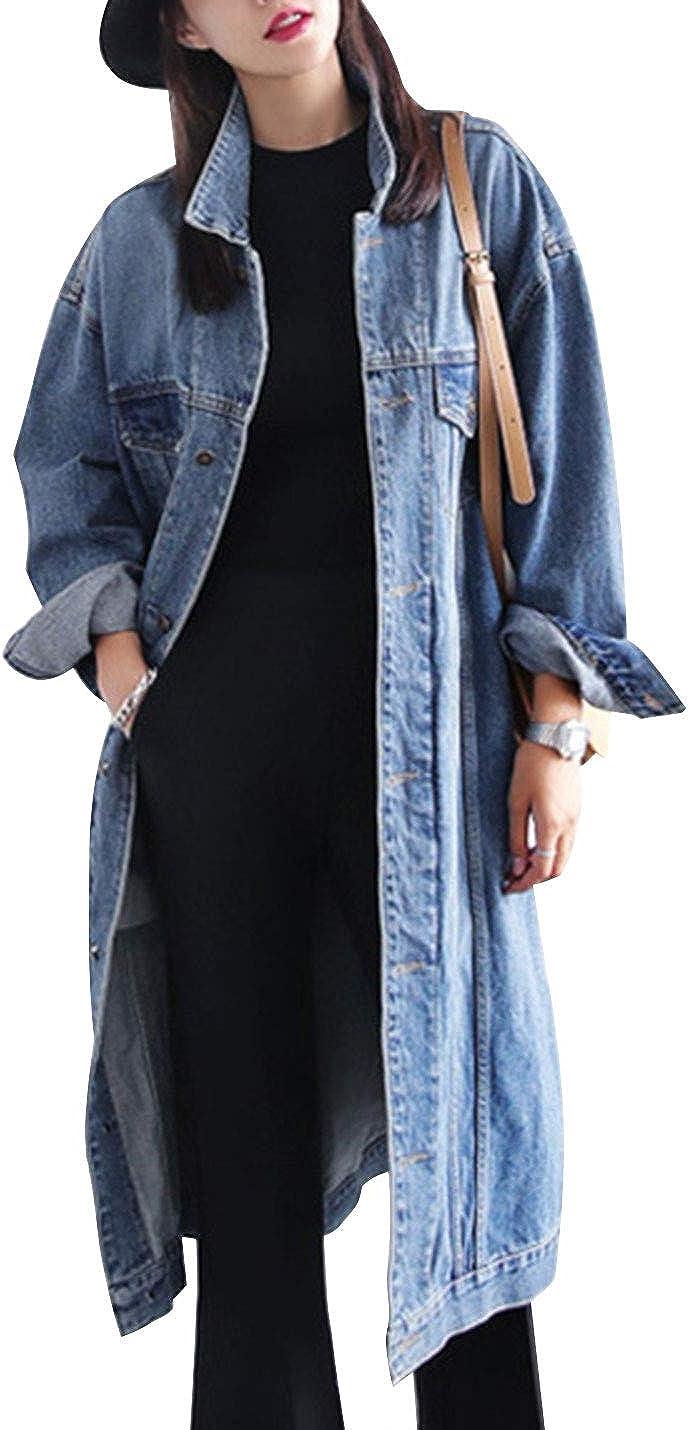 Uaneo Womens Casual Denim Relaxed Boyfriend Long Sleeve Jean Jacket Coat(Blue-L)