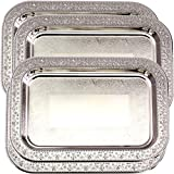 Maro Megastore (Pack of 4) 11.4 Inch x 8.1 Inch Oblong Chrome Plated Mirror Serving Tray Stylish Design Floral Engraved Edge Decorative Party Birthday Wedding Dessert Buffet Wine Platter Plate CC-955