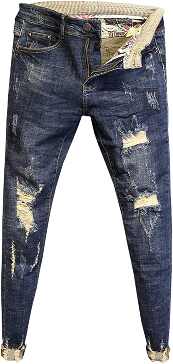 CACLSL Fashion Non-Iron Low-Waist Washed Edging Trousers Slim-fit feet Pants Men's Spring Ripped and Ankle Jeans