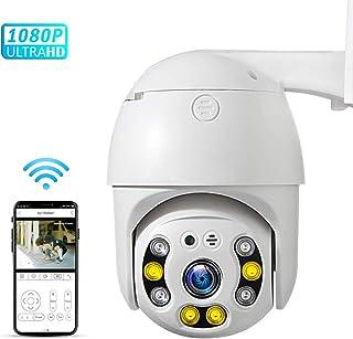 PTZ Camara Vigilancia Camara WiFi Exterior Impermeable IP66 con Audio de Dos Vías Visión Nocturna infrarroja Detección de MovimientoAI Alarma 355° Pan/90° Tilt