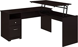Bush Furniture Cabot 60W 3 Position L Shaped Sit to Stand Desk in Espresso Oak