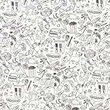 Fabulous Fabrics Ausmalstoff Popeline Wimmelbild – Weiss