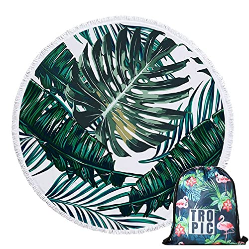 IAMZHL Hojas Verdes Verano Toalla de Playa Redonda de Microfibra con cordón Mochila Bolsa Toallas de baño Tapete Cubierto con borlas Suave-Towel and Bag 9