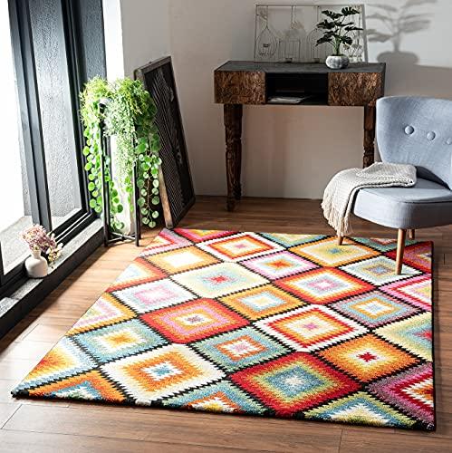 the carpet Rustic Eleganter, Hochwertiger, Wohnzimmer Teppich, Softer Kurzflor, dichter Kurzflor, Farbecht, Lebendige Farben, Raute, Bunt, 120 x 170 cm