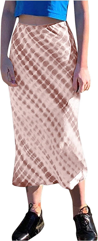 JUNLIN Petite Skirt Dress for Wedding Guest Fashion High Waist Temperament Slim Tie Cye A Line Polyester
