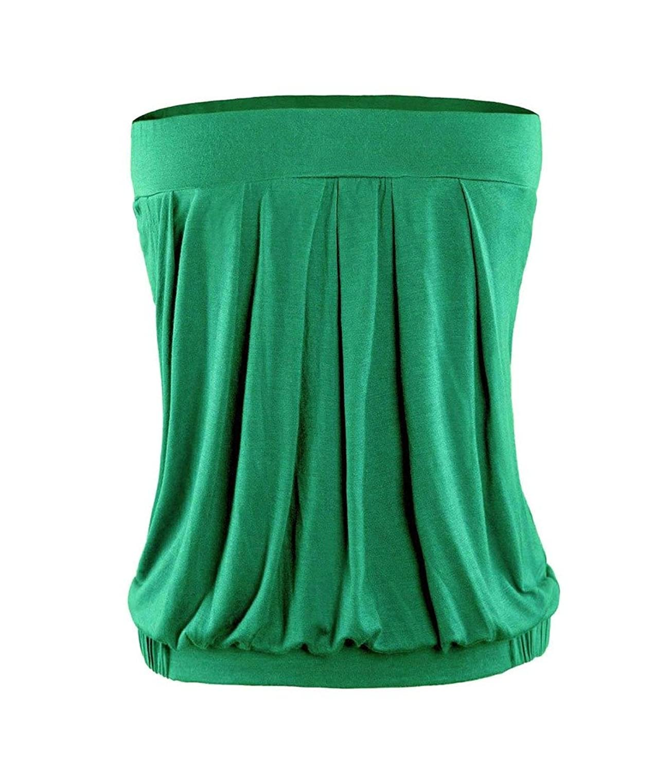 ColorFino Women's Strapless Pleated Bust Clubwear Party Tube Top T-shirt