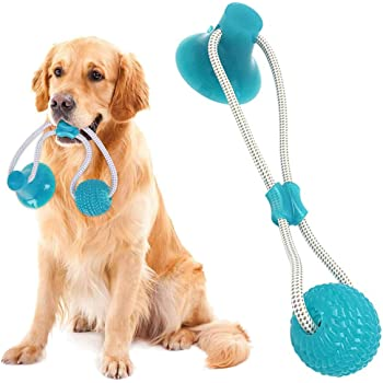 Aifeer Suction Cup Dog Toy, Dog Toothbrush Durable Dog Tug Rope Ball Toy with Suction Cup for Dogs' Oral Care Tugging Pulling Chewing Playing, Adult