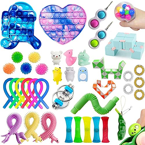 GNOKY 41 Fidget Pack Sensory Fidget Toys Set with Pop Bubble Fidget Sensory Toys and Simple Dimple Fidget Poppers, Stress Reliever Anxiety Relief Toys for Kids Adults with ADD, ADHD, OCD…