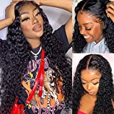 Water Wave Lace Front Wigs Human Hair Pre Plucked T-Part Human Hair Wigs with Baby Hair Middle Brown Lace Wigs for Black Women 150% Density 30 Inch