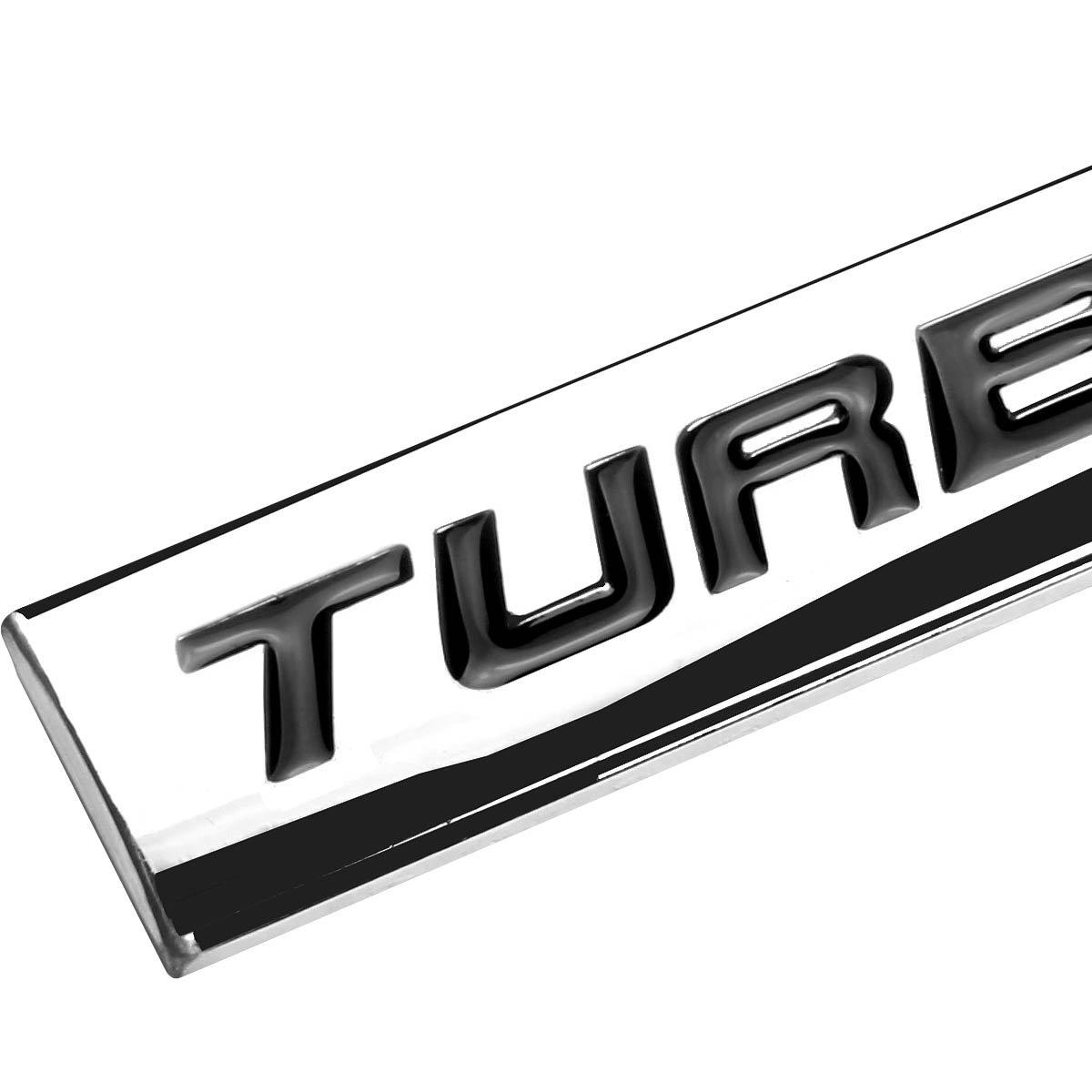 Chrome Finish Metal Emblem Turbocharged Badge (Black Letter)