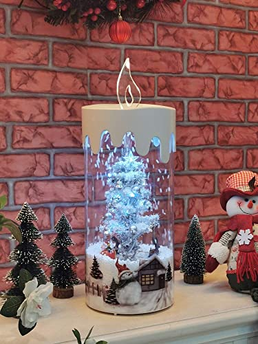 """popular 18"""" Decorative Snowing LED 2021 Lighted high quality 8 Song Christmas Tree Holiday Display Flameless Candle by SkyMall sale"""