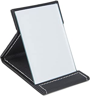 Folding Mirror, PU Small Portable Adjustable Rectangular Makeup Mirror for Travel, Black, 4.3""