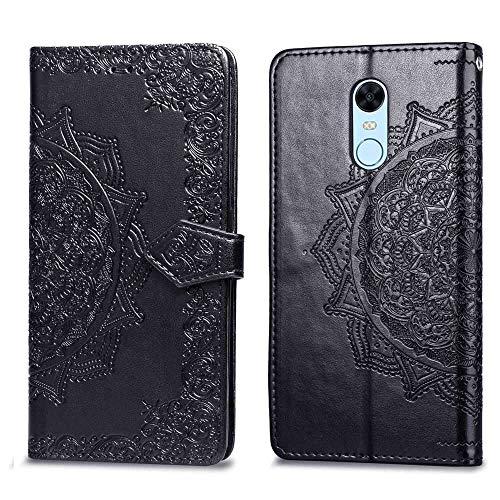 Bear Village Hülle für Xiaomi Redmi 5 Plus, PU Lederhülle Handyhülle für Xiaomi Redmi 5 Plus, Brieftasche Kratzfestes Magnet Handytasche mit Kartenfach, Schwarz