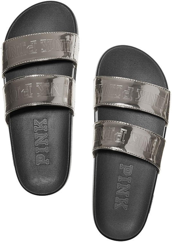 Victoria's Secret Pink Double Strap Slide Sandals Silver Gunmetal Medium 7 8