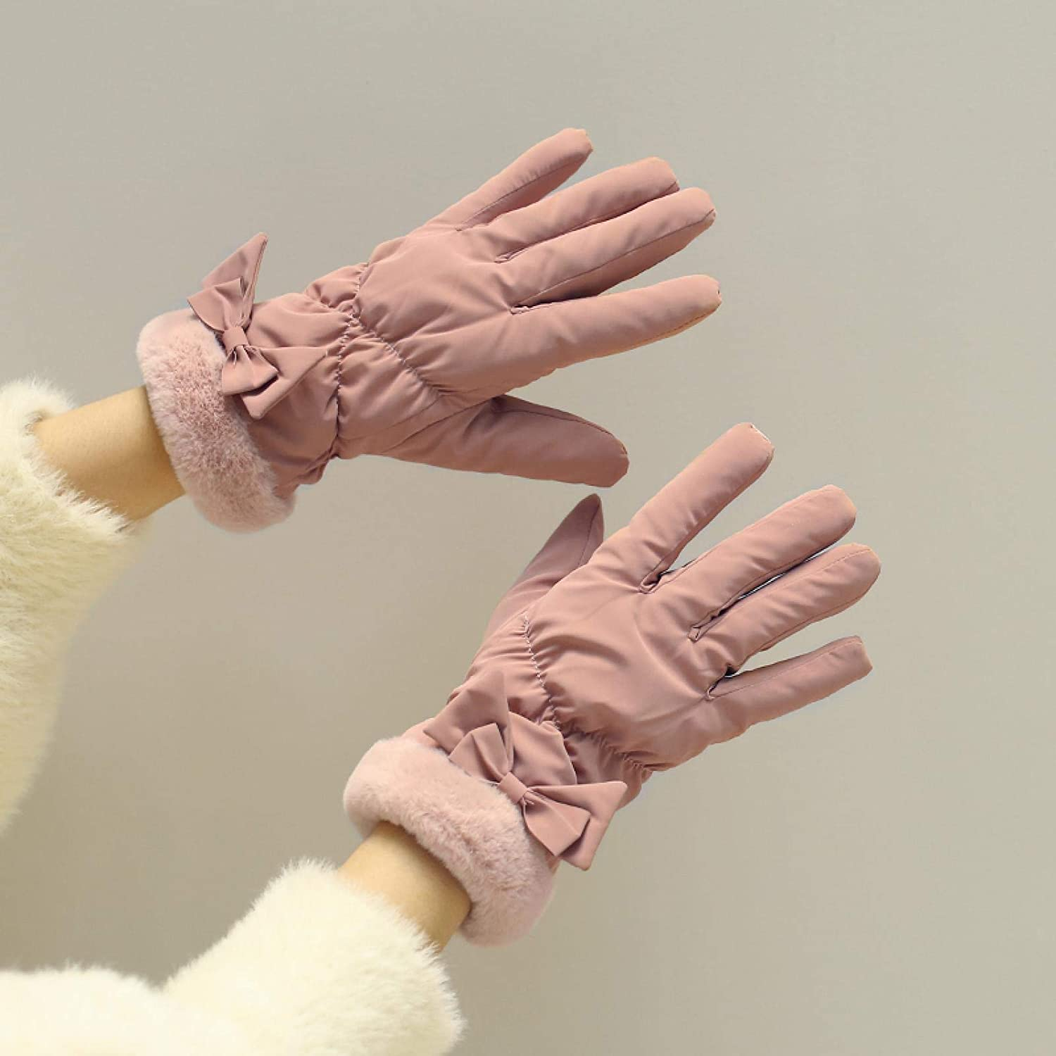 AMILIEe Student Gloves Female Autumn and Winter Cycling Down Cotton Thickened Cold Winter Touch Screen Gloves Plus Velvet to Keep Warm