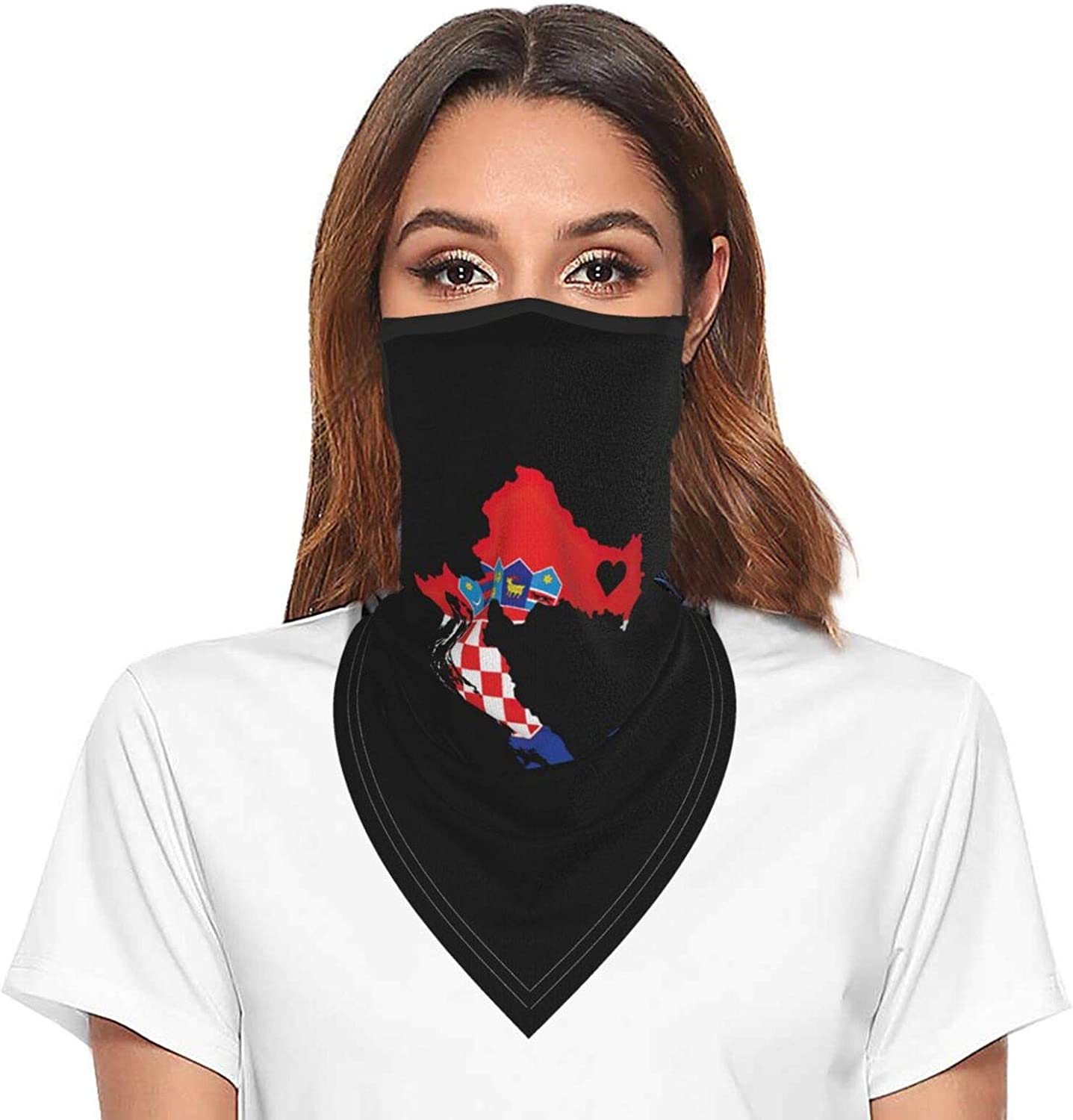 Love Croatia Neck Gaiter Face Mask With Ear Loops Outdoor Breathable Scarf For Men Women