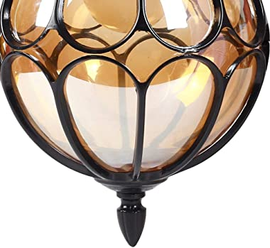 "IJ INJUICY Outdoor Hanging Lamp Lantern, Waterproof Pendant Lighting Fixture in Painted Metal with Glass Globe, Exterior Ceiling Light for Porch, Entryway,Restaurant 9.1"" (Black)"