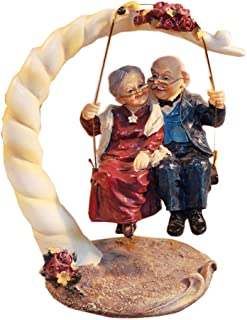 DreamsEden Loving Elderly Couple Figurines, Old Age Life Resin Home Decoration with Gift Card for Anniversary Wedding (Swing)