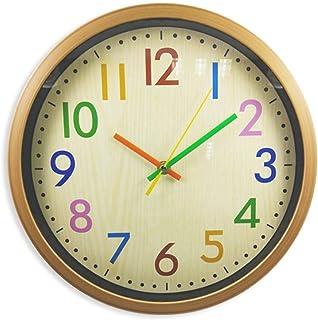 掛け時計 おしゃれ 時計 壁 子供 部屋 カラフル 見やすい 誕生日 新築 お祝い プレゼント 茶色