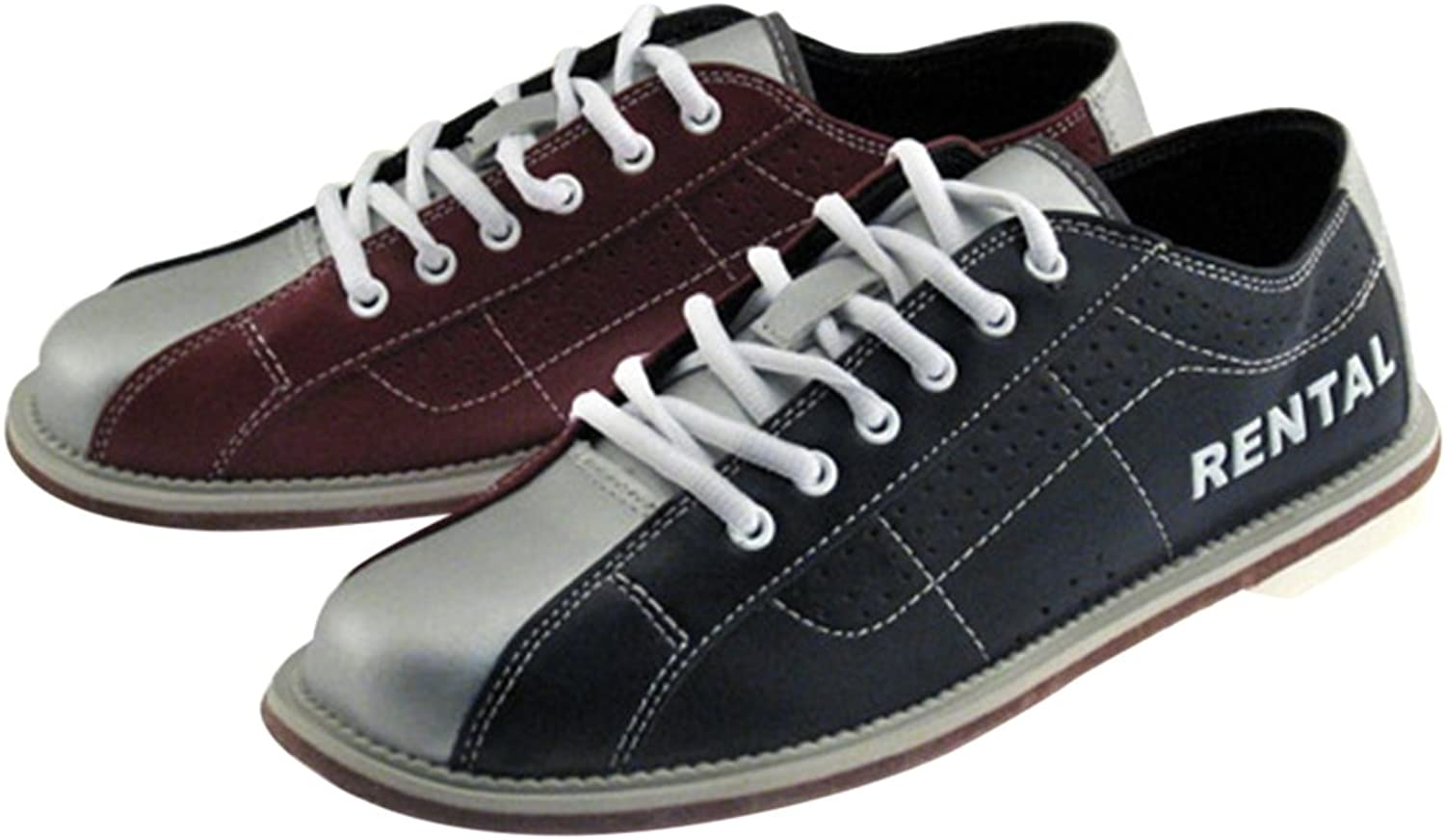 Bowlerstore Classic Men's Rental Bowling shoes, 10 1 2 US M, bluee Red Silver