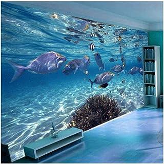 Lzlwsu 3D Wallpaper Cartoon Creativo Mundo Submarino Vida Marina Mural Niños Dormitorio Acuario Sala De Estar