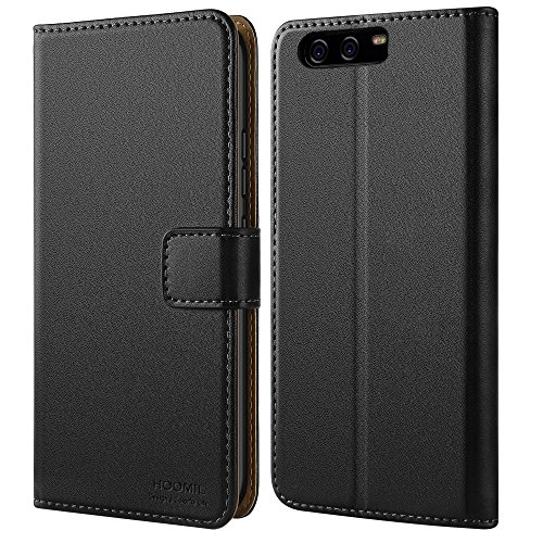 HOOMIL Handyhülle für Huawei P10 Hülle, Premium PU Leder Flip Schutzhülle für Huawei P10 Tasche, Schwarz