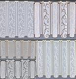 heimtexland   Scheibengardine nach Maß Stickerei Ranke Apricot Höhe 90 cm Breite der Gardine durch Stückzahl in 32 cm Schritten wählbar Wunschmaß Gardine Bestickt Typ199