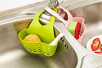 SHOPPOSTREET Silicone Adjustable Kitchen Portable Hanging Drain Water Draining Hanging Soap, Sponge, Kitchen Accessories Holder Organizer for Kitchen, Bathroom Sink Faucet Caddy (Multi Color) Set of 2