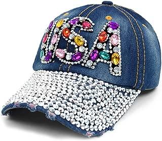 Crazy4Bling Dark Denim Fashion USA Rhinestone Faceted Crystal Studded Design Cap Hat
