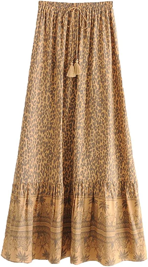 Women Beach Bohemian Floral Print Pleasted Skirt High Waist Maxi A-Line Boho Skirt