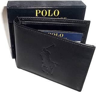 POLO RALPH LAUREN Big Pony MEN'S BIFOLD BLACK LEATHER PASSCASE WALLET