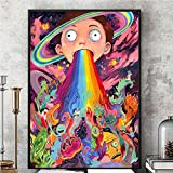 Pintura de psters, Rick y Morty Psicodlico Cartel de Seda Cuadro de la pared Impresin de dibujos animados Colorido Impresin Tv Show Show 16'X24'