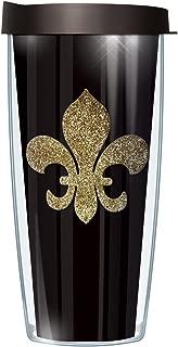 Gold Fleur De Lis Bling Traveler 16 Oz Tumbler Cup with Black Lid