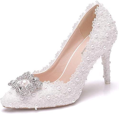 Chaussures De Mariage En Dentelle Blanche Pointues Sandales De Mariage Mariage Mariage Chaussures à Talons Hauts Paillettes Magnifiques Chaussures En Cristal e15